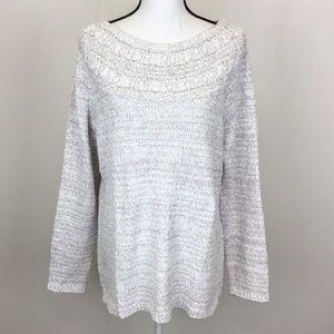 Croft & Barrow White Tan Chenille Sweater